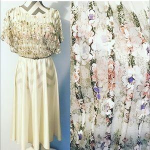 Vintage 70s 80s Ivory Floral Disco Dress